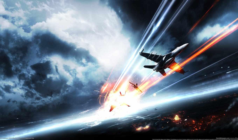 battlefield, самолеты, истребители, бой, небо, bang, дек,