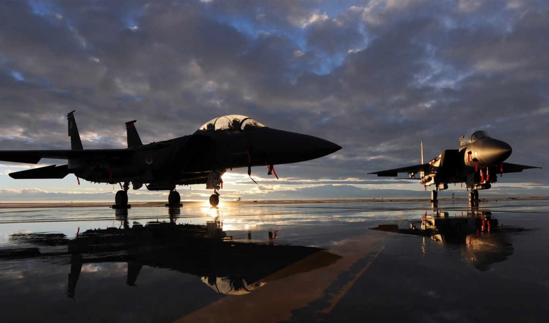 орлан, mcdonnell, douglas, самолёт, истребитель, военных, самолета, два, американських, рассвете, самолеты,