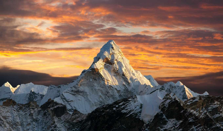 гора, everest, landscape, закат, эверестом,