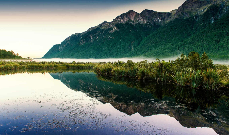 гора, озеро, лес, greenery, весна, природа, небо, landscape, water, foot