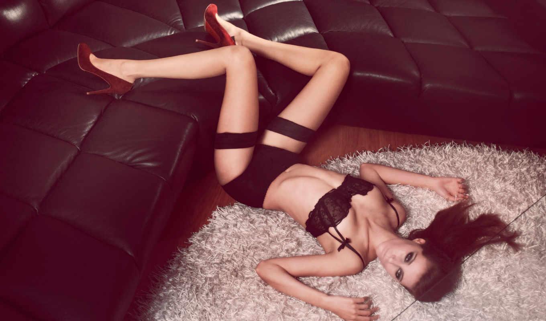 devushka, бельe, туфли, чулки, брюнетка, нижнее, модель,