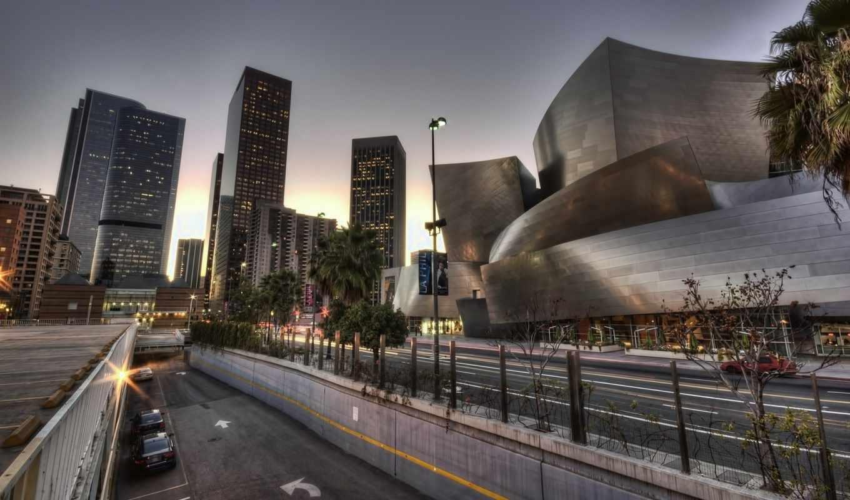 los, анджелес, город, usa, первую, вид, ночь, калифорния, взгляд,