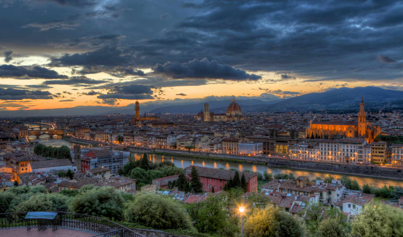 italy, florence, tuscany, закат, вечер, панорама,
