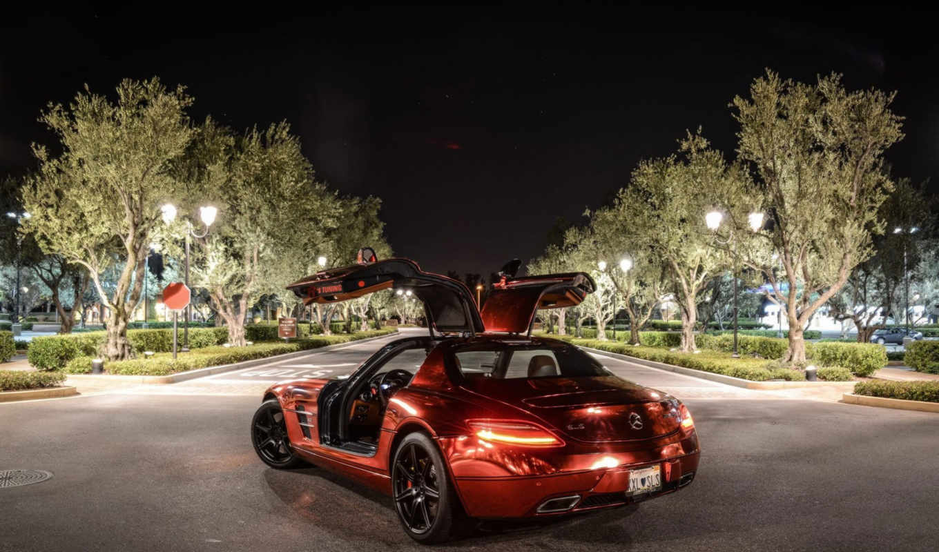 sls, amg, mercedes, benz, red, iron, chrome,
