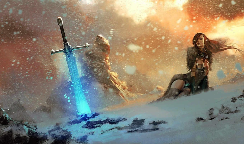 магия, девушка, огонь, меч, снег, руны, скалы, картинка, картинку, арт,