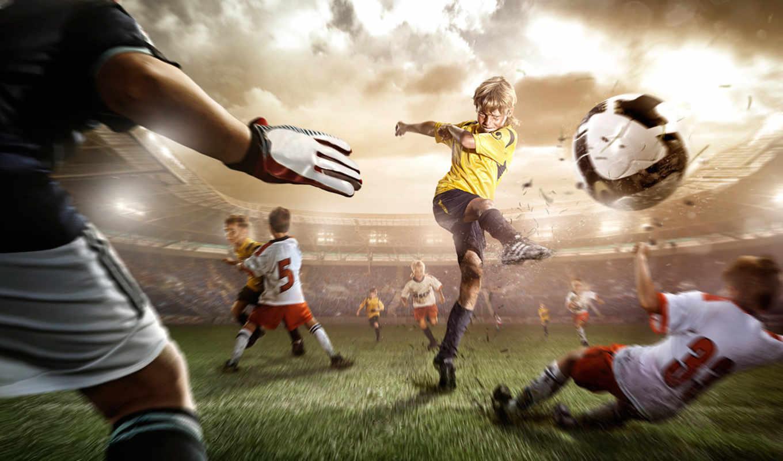 футбол, удар, мяч, стадион, трава, движение, нога,