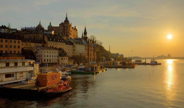 sweden, stockholm, набережная, река, sun, трек, восход,