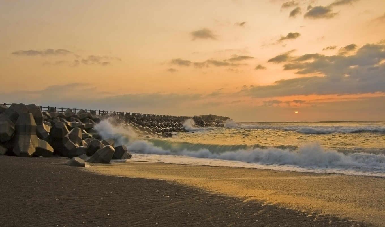 море, sun, волны, закат, misawa, берег, причал, песок, картинка, графика, категории,