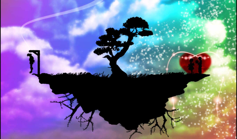 love, небо, луна, wings, ночь,