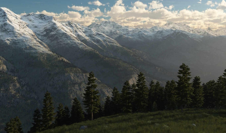горы, снег, landscape, вершины, лес, гряда, туман, облака, art,
