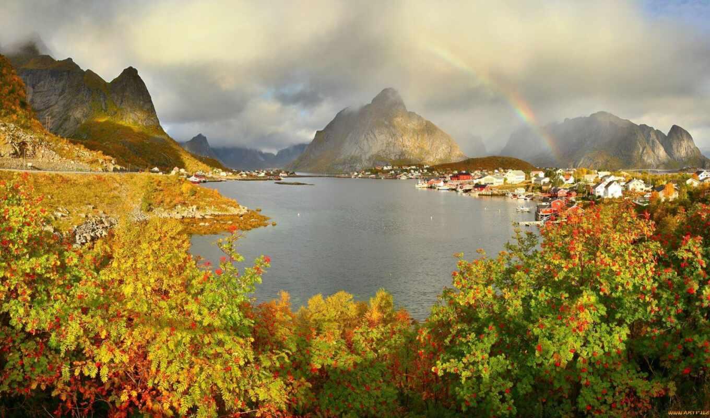 norwegian, осень, reine, город, gravdalsbuk, landscape, fountain, house, гора, природа