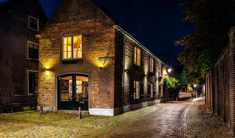 den, бощ, улица, ночь, город, нидерланды
