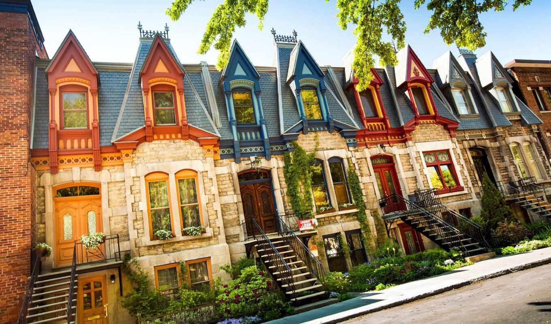 montreal, casa, pantalla, rea, ciudad, pueblo, house, urbana, istock