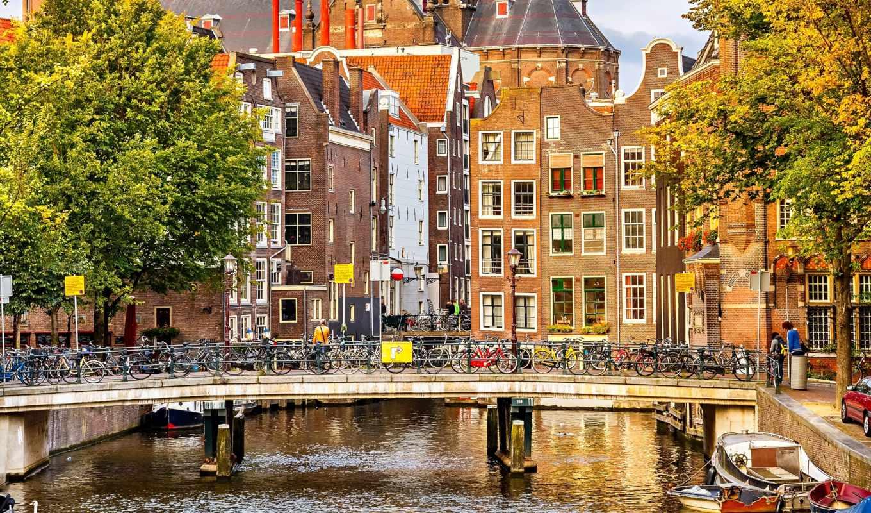 amsterdam, нидерланды, nederland, картинку, дома, картинка, города,