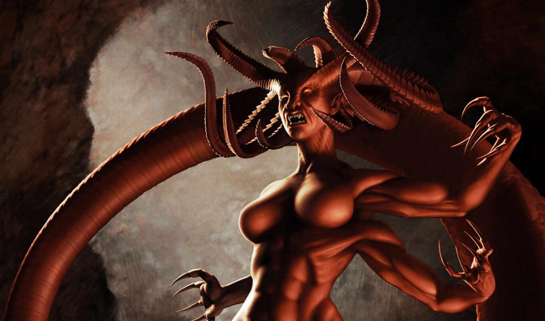 , крылья, ангелок, Арт, демон, ангел, рога, девушка