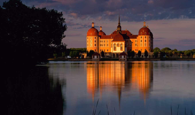 castle, берег, река, лучах, закат, берегу, заката, озера,