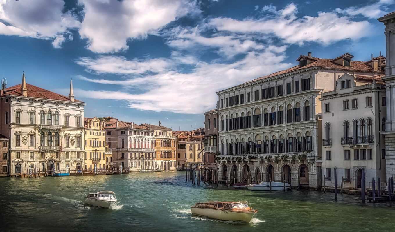 город, house, canal, venezia, канал, italy, venice, italian, день, speedboat