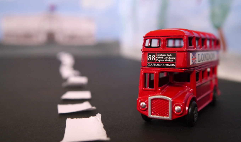 макро, дорога, игрушка, автобус, картинка,