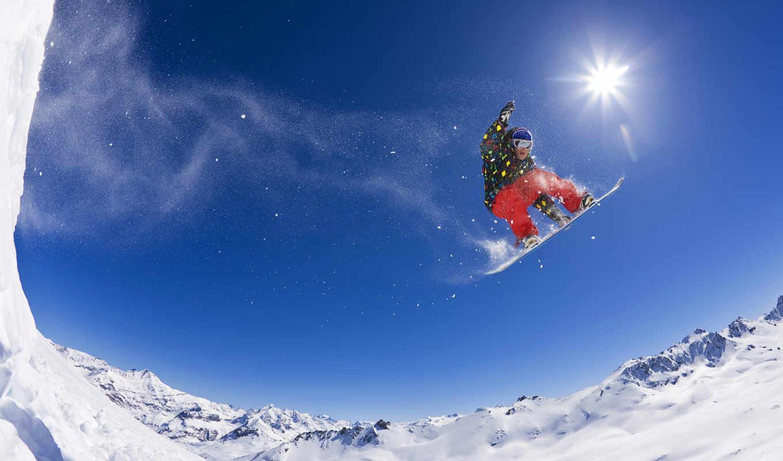 snowboarding, горы, прыжок, солнце, спорт,