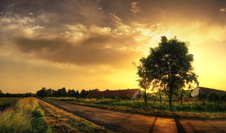 закат, деревня, картинка, деревне,