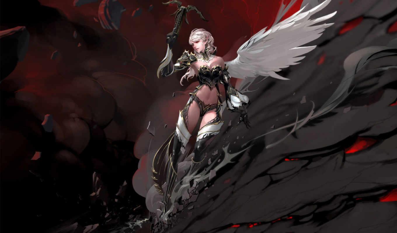 you, game, games, image, girl, girls, фэнтези, fantasy, lineage, крылья, скала, throne, kamael,