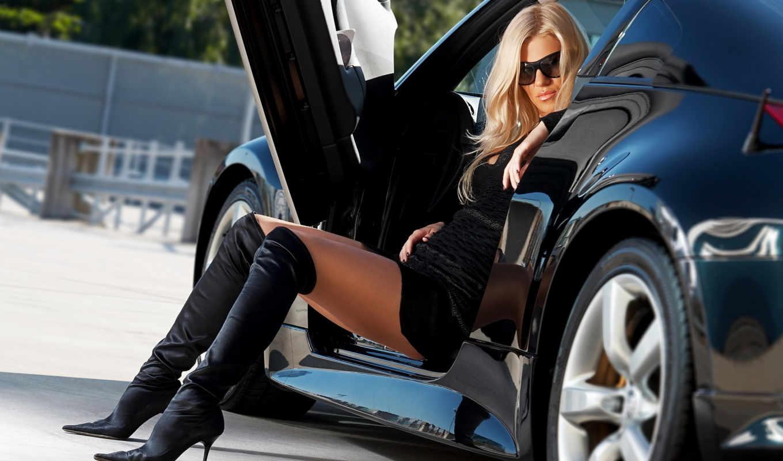 платье, очки, отражение, поза, машина, разрешением, черном, девушка, blonde, авто, boots, ноги,