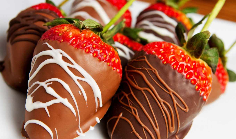клубника, шоколаде, chocolate, еда,