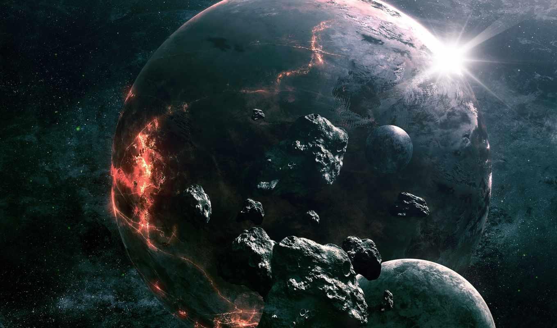 космос, art, planet, уничтожение, скалы, метеориты,