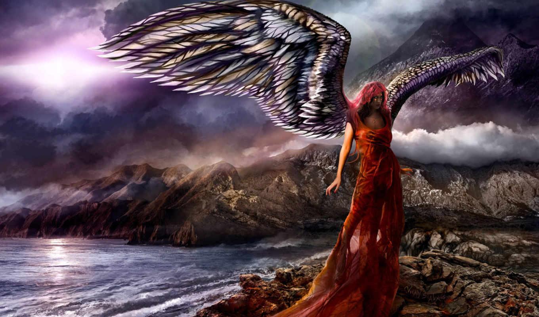 angel, девушка, крылья, пасть, категории,