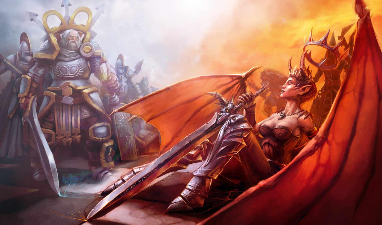 битва, chess, art, девушка, игры, меч, воин, демоница,
