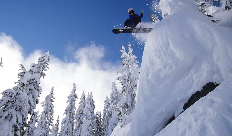 сноуборд, снег, спорт, wallpaper, экстрим, лес, небо, wallpapers, картинка, snow,