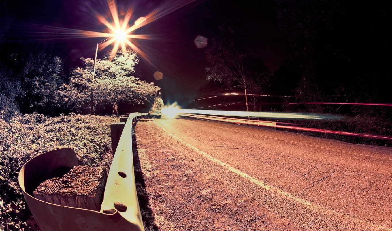 дорога, ночь, свет, route, огни,