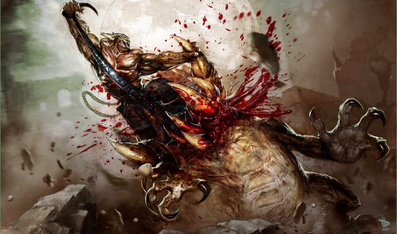 splatterhouse, кровь, схватка, чудовище, воин, wilkins, dave, маска, луна, картинка, art,