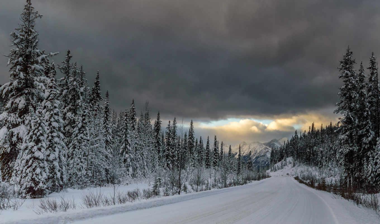 горы, природа, лес, снег, winter, дек, ханты, дорога,