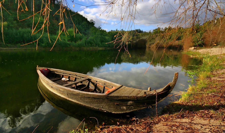 лодка, природа, деревя, озеро, берег,