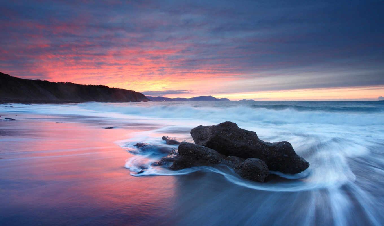закат, пляж, beaches, ocean, небо, волны,