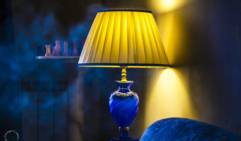 комната, разделе, лампа, blue, home, chess,