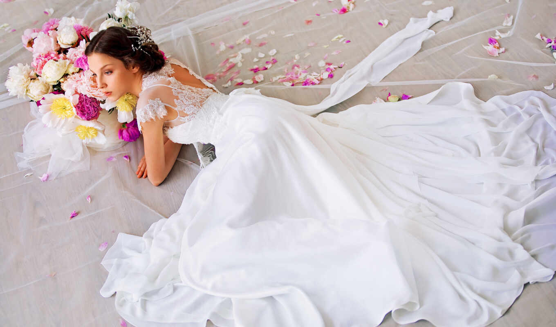 невеста, платье, свадебный, цветы,