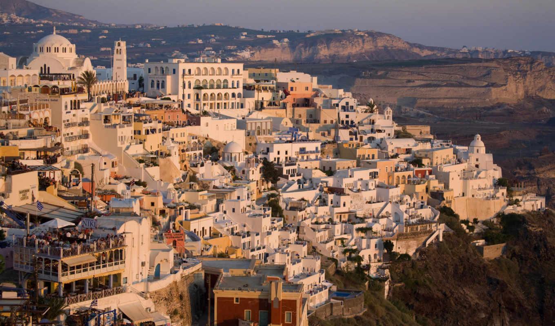 дома, греция, город, крыши, картинка, санторини, картинку, города,
