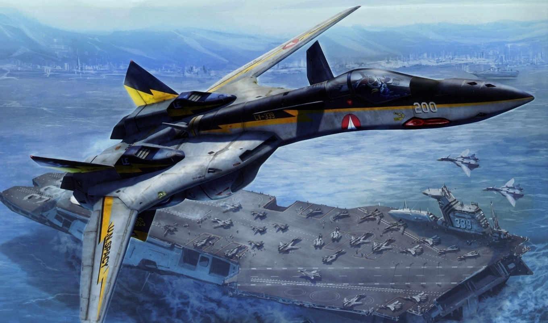 самолёт, macross, авианосец, корабль, море, истребитель, самолеты, горы, авиация,