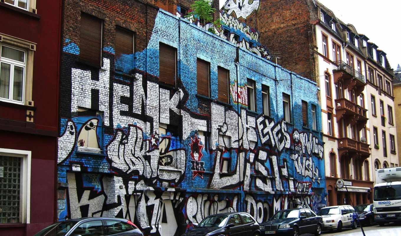 совершенно, graffiti, город, улица, яркими, красочными,