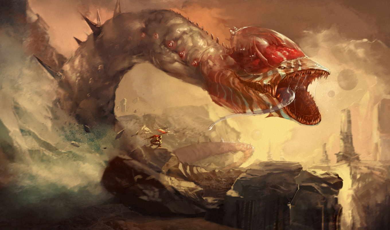monster, мужчина, пасть, флаг, snake, горы, язык, зубы,