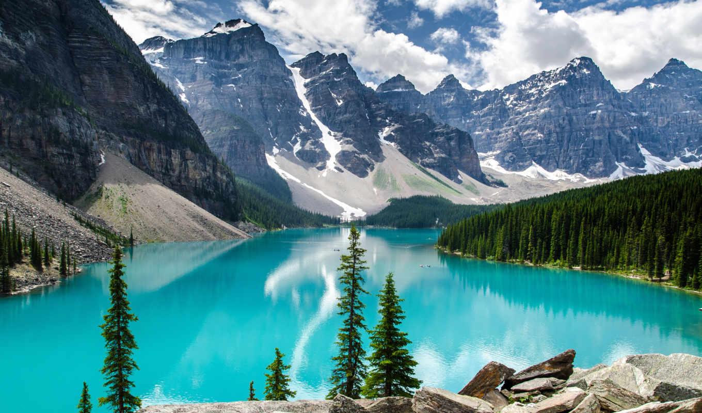 озеро, moraine, national, park, banff, канада,