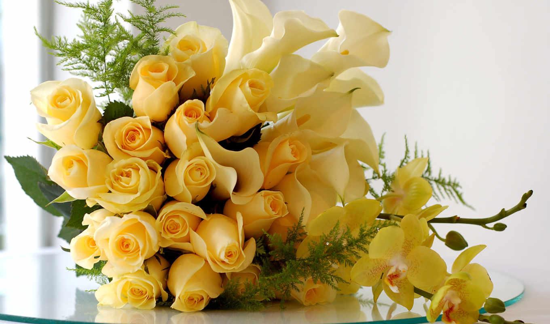 букет, роз, орхидеи, цветов, разных, лилиями, cvety, лежит, столе, белых,