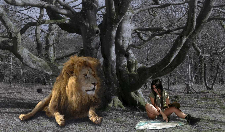 lion, девушка, iphone, дерево, desktop, fantasy,