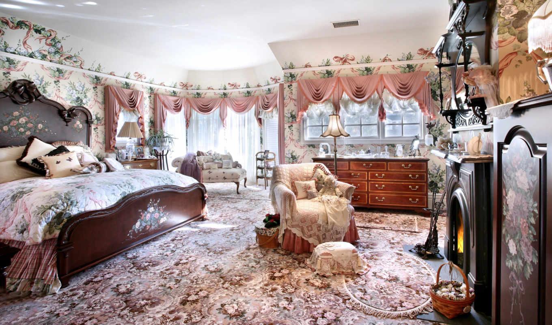 спальня, интерьер, кровать, камин, стиль, королевская, картинка, картинку, вернуться, design, компьютер,
