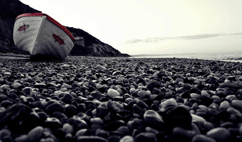 макро, берег, пляж, камни, лодка, галька, море, картинка, картинку,