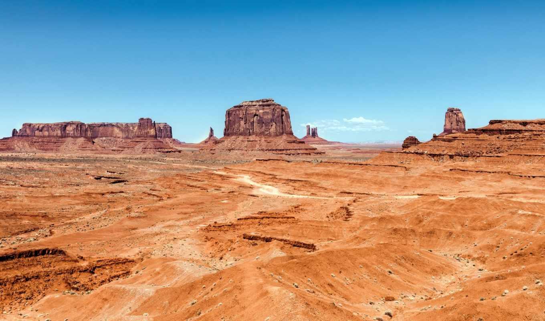 долина, монументов, памятник, небо, горы, навахо,