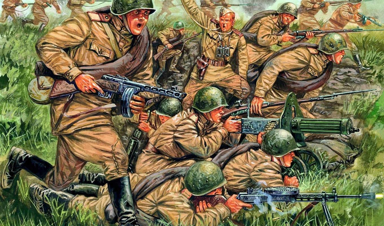 art, военные, attack, пехоты, советской,
