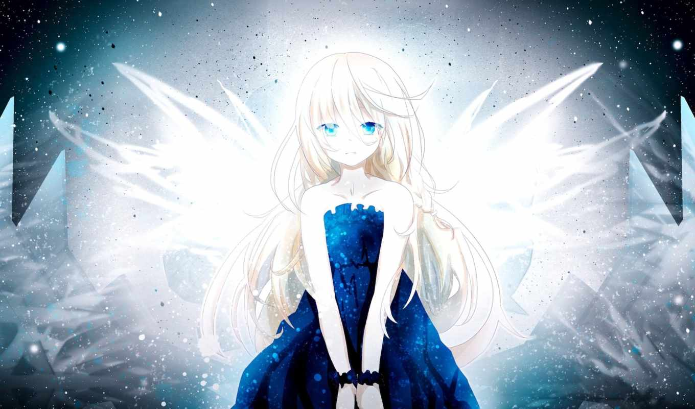 волосы, белые, anime, девушка, категории, art, платье, длинные,